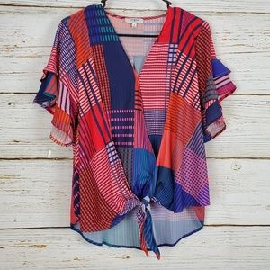 Umgee Cross Front Print Blouse